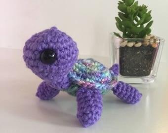 Crochet turtle, amigurumi turtle, mini turtle, stuffed turtle, soft animal, stuffed animal, mini stuffed animal, purple turtle