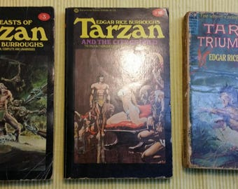 Vintage Tarzan books ,Edgar Rice Burroughs,Lad Lion, Golden Lion, Ant Men, Beasts of Tarzan ,City of Gold ,Tarzan Triumphant, Lot  6 Tarzan