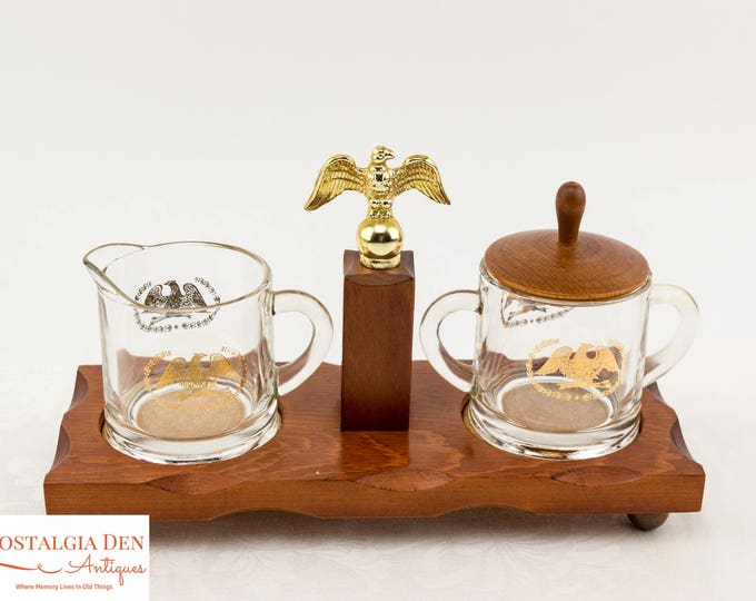 Vintage Creamer and Sugar Set on Wooden Tray | Clear Glass with Gold Federal Eagle