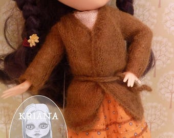 """BLYTHE MOHAIR CARDIGAN, brown (jointed body (""""fake"""" ))"""