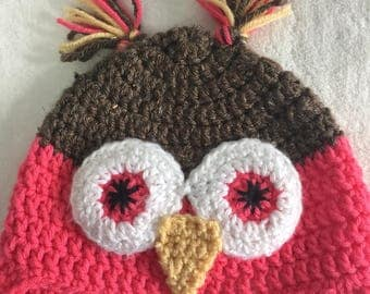 12-18 month owl hat earflap hat trapper hat