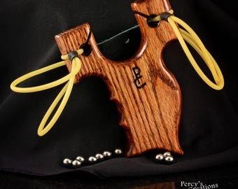 Wood Slingshot, Oak, Catapult, Hunting Custom Made Slingshot, Pocket Slingshot, Ergonomic Large or Small Hands, Custom Handmade Slingshot