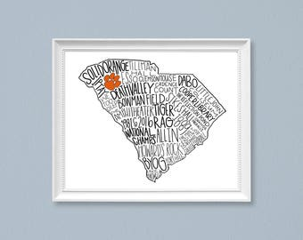 PRINT Clemson University Cardstock Print, South Carolina, Orange and Purple, Clemson Tigers,  College football, Go Tigers, Simple design
