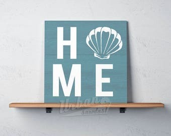 """NEW for 2018! Beach sign, Wood Sign, HOME with shell as """"O'"""