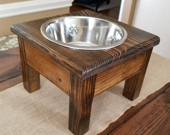 Small Elevated Dog Bowl, Elevated Pet Feeder, 1 Bowl Feeder, Wood, One Bowl Dog Feeder,Personalized Dog Feeder,Pet Feeder,Raised Dog Feeder