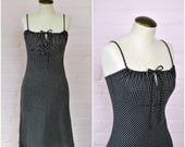 1990s spaghetti strap dress · long black and white gingham dress · tie front chest · 90s summer dress · sundress · small/medium
