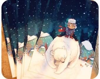 """""""Noam et son ours vous souhaitent un joyeux noël"""" carte de voeux 10x15cm."""