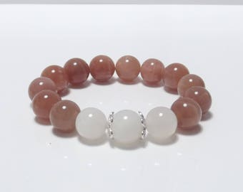 Moonstone bracelet with 925 silver 12mm large moonstone beads Brown and white