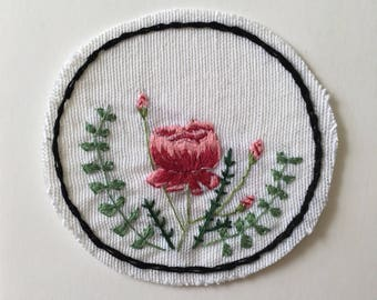 Hand Embroidered Floral Iron-On Patch