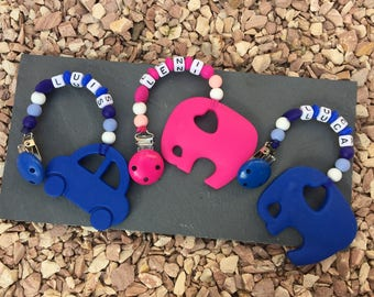 Bite necklace with elephant or car with name and silicone beads