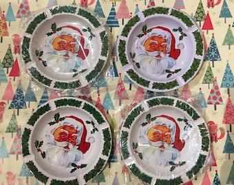 Vintage Tin Santa Claus Ashtray - Set of 4