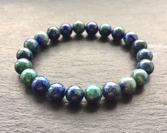 Genuine Azurite Crystal Gemstone Bracelet 8mm Beads UK Made Custom Size