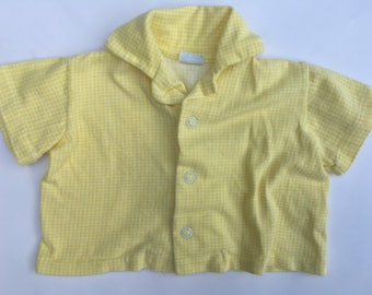 SALE Vintage 50's Boys Yellow Gingham Shirt 6 Months/Button Up Shirt