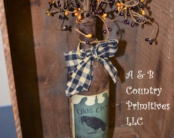 Olde Crow Grubby Wine Bottle, Primitive Home Decor, Country Home Decor