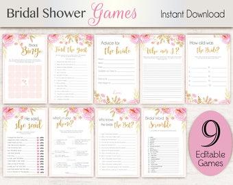 Bridal Shower Games, Pink Editable Bridal Shower Games Package Set Bundle , Editable games, Bridal Shower Games Pink Floral Gold Game Set
