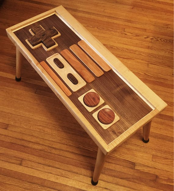 Retro Gaming Controller Inspired End Table / Coffee Table. All Hardwood