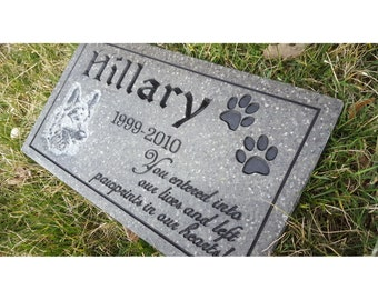 Pet Memorial Carved Engraved V-Groove Weatherproof Solid Surface Corian Granite Substitute