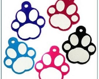 PAW print Dog ID tag ENGRAVED