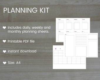 Printable Daily, Weekly, Monthly Planning Kit Template PDF file