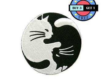 Yin Yang White and Black Cat Embroidered Iron On Patch Heat Seal Applique Sew On Patches