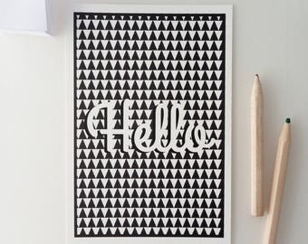 "Postcard ""Hello"" Scandinavian pattern"