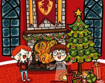 Harry Potter and Ron Weasley Hogwarts Christmas Harry Potter Fan Art Illustration