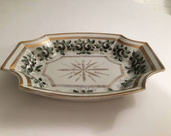 Vintage Gold and Green Flower Dish