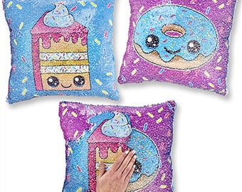 Cake/Donut Sequins Flipping Mermaid Pillow