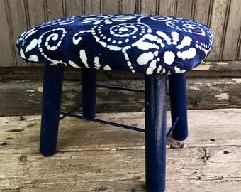 Vintage Foot Stool Foot Rest Ottoman Navy Blue Mid Century up cycled reupholstered small bench