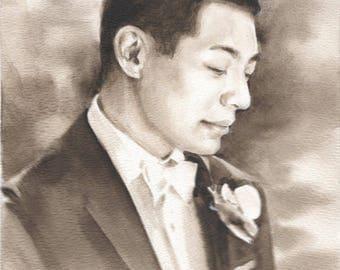 Custom portrait, Watercolor portrait, Sepia portrait, Custom gift, Birthday portrait, Wedding portrait, Sepia watercolor portrait