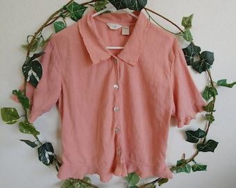Vintage Flamingo Pink Blouse