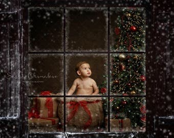 Digital backdrop, background window frame  newborn baby     Christmas   winter family older children snow