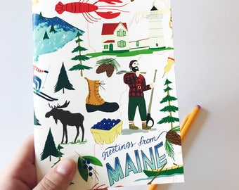 Greetings From Maine  5x7 journal | Maine | New England | Skiing | John Bunyan | Lighthouse | Lobster | Forest | Maple Syrup | Blueberries
