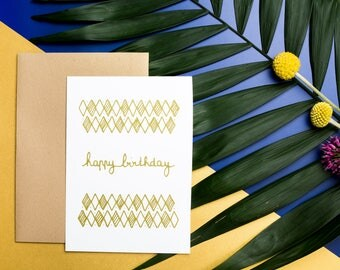 Screen printed 10, 5 X 14, 7 CM - ARGYLE birthday card