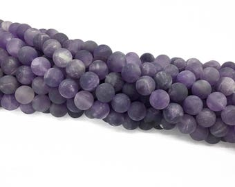 1Full Strand Matte Amethyst Round Beads, 8mm 10mm Amethyst Gemstone For Jewelry Making