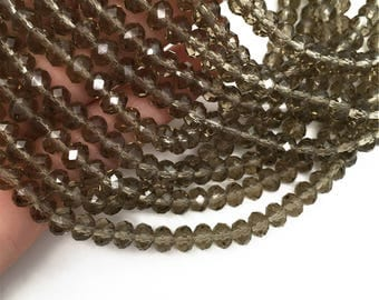 1Full Strand 6*4mm Brown Crystal Rondelle Beads,Crystal  Glass Beads For Jewelry Making
