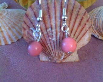 1 pair of dangle earrings Pink Pearl