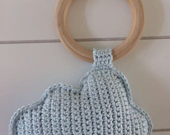 Rattle//light blue cloud theethingring////gehaakt//handgemaakt//Kraamcadeau//Crochet Cloud rattle baby gift//handmade