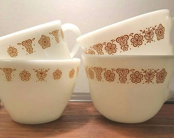PYREX Milk Glass - Butterfly Gold Cream, Sugar, and 2 Cups