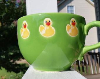Jumbo Waechtersbach Green Mug with Rubber Ducky Design