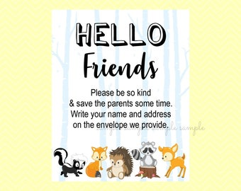 Hello Friends Sign, Write your name and address Sign, Gender Reveal Party, Printable, Baby Shower Party, Woodland Design style