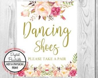 Vintage Gold Floral Boho Dancing Shoes Sign, Gold Flower Boho Wedding Sign, Printable, Bridal Shower, Baby Shower Sign, Birthday