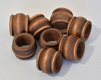 Vintage Set of 8 Wooden Napkin rings
