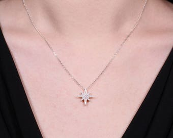 Eight-pointed Star Necklace, Sterling Silver Necklace, Cubic Zirconia Necklace, Silver Geometric Necklace, Long Silver Chain Necklace, Gifts