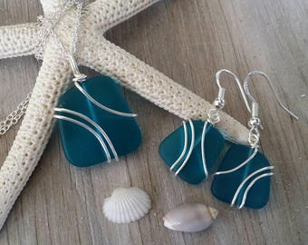 Made in Hawaii, Wire wrapped teal blue  sea glass necklace + earrings jewelry set,925 sterling silver chain, gift box. Beach jewelry gift.