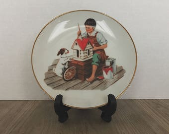 Vintage Norman Rockwell Plate, A Dollhouse for Sis, Norman Rockwell, Plate, Fine China, Collectible, 1986, Vintage Advertising, Rockwell Art