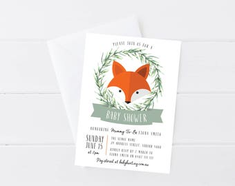Fox Baby Shower Invitation | Printable Baby Shower Invitation | Woodland Theme | Gender Neutral Party Invitation | Fox Theme