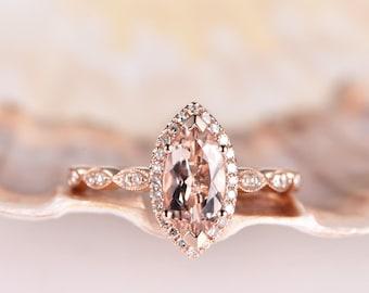 Marquise Engagement Ring 10x5mm Morganite Engagement Ring Rose Gold Antique Art Deco Wedding Band Milgrain Vintage Promise Ring 14K Bridal