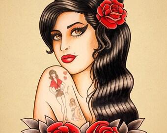 Amy Winehouse. Old School Tattoo print.