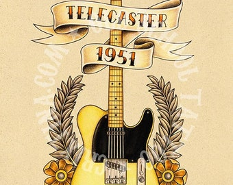 Fender Telecaster 1951 guitar. Old School Tattoo print.